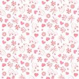 与桃红色花和心脏的光栅欢乐样式情人节礼品包装材料的,婚礼 库存例证