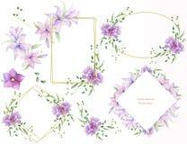 与桃红色花和装饰叶子的花卉框架 水彩水平邀请的设计 保存日期的背景 Greeti 皇族释放例证