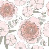 与桃红色花的传染媒介无缝的样式 库存照片