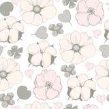 与桃红色花的传染媒介无缝的样式 免版税库存图片