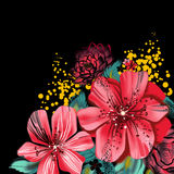 与桃红色花的图象在水彩技术 库存例证