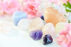 与桃红色花的宝石 库存照片