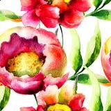 与桃红色花的无缝的墙纸 库存图片