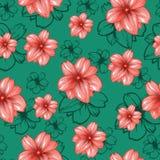 与桃红色花的无缝的样式在绿松石或绿色背景 传染媒介时尚织品纺织品设计 免版税图库摄影