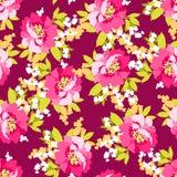 与桃红色花的花卉无缝的样式 库存例证