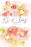 与桃红色花的花卉水彩背景 库存照片