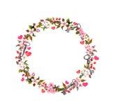 与桃红色花,心脏,钥匙的花卉花圈 水彩圈子边界为情人节,婚姻 库存照片
