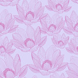 与桃红色莲花的逗人喜爱的无缝的样式 荷花墙纸 图库摄影