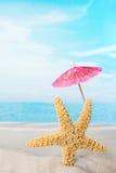 与桃红色遮阳伞的海星 免版税库存照片