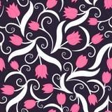 与桃红色郁金香的无缝的模式 免版税库存图片