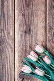 与桃红色郁金香花束的背景在难看的东西木板的 库存照片