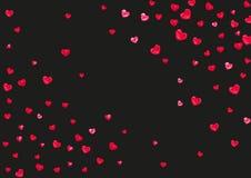 与桃红色闪烁心脏的华伦泰背景 2月14日天 华伦泰背景模板的传染媒介五彩纸屑 免版税库存照片