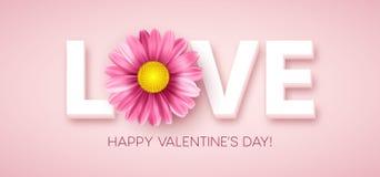 与桃红色雏菊花的爱印刷术 也corel凹道例证向量