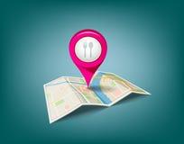 与桃红色颜色点标志的被折叠的地图 库存照片