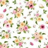 与桃红色,橙色和白玫瑰、lisianthuses、银莲花属和毛茛属的无缝的样式开花 也corel凹道例证向量 库存照片