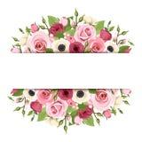 与桃红色,红色和白花的背景 向量EPS-10 库存例证