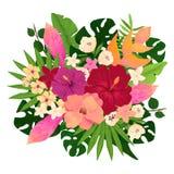 与桃红色,红色和黄色花的花束 库存图片