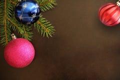 与桃红色,蓝色和红色波浪球的圣诞树分支在黑暗的背景 库存照片