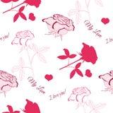 与桃红色rose_6的无缝的样式 免版税库存照片