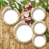 与框架和圣诞老人的圣诞节背景 免版税库存图片