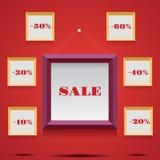 与框架和帆布的销售例证 免版税库存图片