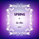 与框架和行情&#x22的装饰卡片; 春天在air' 向量例证