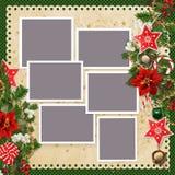 与框架的圣诞节背景的星,圣诞节铃声,甜点,杉木家庭照片和边界分支,一品红,误码率 库存例证