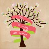 与框架的开花的树卡片的文本 免版税库存照片