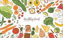 与框架的水平的横幅包括了不同的健康或卫生食品、水果和蔬菜切片,坚果,鸡蛋 库存例证