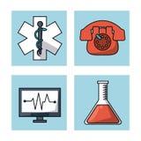 与框架的白色背景与医疗标志和紧急电话和脉冲显示器和试管 库存图片