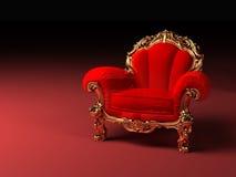 与框架的皇家红色扶手椅子 皇族释放例证
