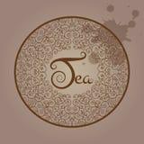 与框架的茶商标与卷毛 免版税库存照片