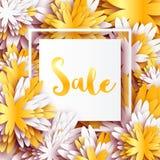 与框架的金黄箔春天夏天销售横幅的事务 免版税库存照片