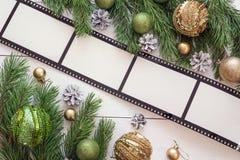 与框架以影片的形式,冷杉branc的圣诞节背景 免版税库存照片