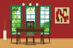 与桌、椅子、垂悬的灯和墙壁装饰的餐厅内部 也corel凹道例证向量 图库摄影