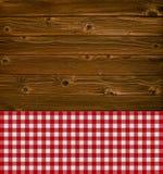 与桌布的木纹理 免版税图库摄影