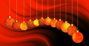 与桔子和金装饰品的圣诞节背景在橙色和黑波浪背景 库存照片