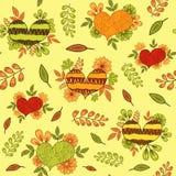 与桔子,黄色和绿色种族乱画心脏的无缝的样式 向量例证