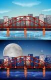 与桥梁的城市视图在日夜 免版税库存图片