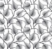 与桦树叶子的装饰无缝的样式 免版税库存照片