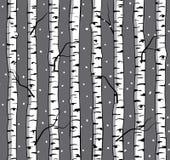 与桦树的冬天无缝的样式 免版税图库摄影