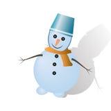 与桶和阴影的雪人 免版税库存照片
