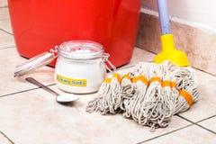 与桶,拖把,房子清洁的洗涤剂的发面苏打 免版税图库摄影