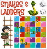 与梯子和蛇的Boardgame模板 皇族释放例证