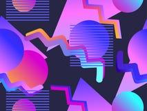 与梯度形状的孟菲斯无缝的样式仿照80s样式 Synthwave,未来主义背景 Retrowave 向量 库存例证