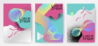 与梯度,圈子,稀薄的线烟形状,颜色流体的五颜六色的现代抽象海报 向量例证