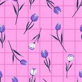 与检查或栅格检查设计的美好和柔和的无缝的样式郁金香花传染媒介时尚、墙纸,书的等 库存例证
