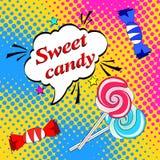 与棒棒糖的流行艺术背景和糖果和讲话起泡 向量例证