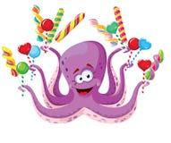 与棒棒糖的章鱼 库存图片