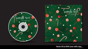 与棒棒糖的绿色圣诞节DVD盖子 免版税图库摄影